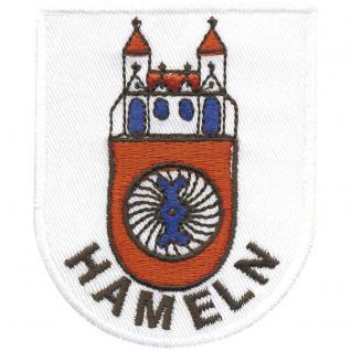 AUFNÄHER - Aufbügler - Wappen - HAMELN - 00491 - Gr. ca. 6 x 7, 5 cm - Patches Stick Applikation