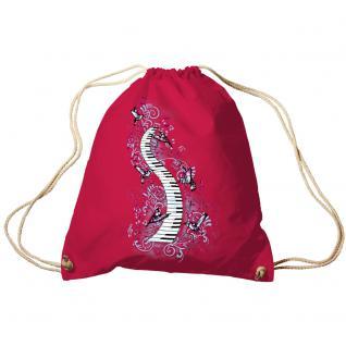 Trend-Bag Turnbeutel Sporttasche Rucksack mit Print -Klavier und Vögel - TB09018 Fuchsia