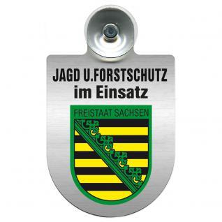 Einsatzschild für Windschutzscheibe incl. Saugnapf - Jagd + Forstschutz im Einsatz - 309729-3 Region Freistaat Sachsen