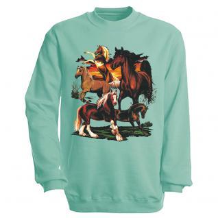 """Sweat- Shirt mit Motivdruck in 6 Farben """" Pferde"""" S12668 L / türkis"""
