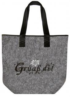 Filztasche mit Stickerei - Grüaß di - 26022 - Tasche Shopper Bag