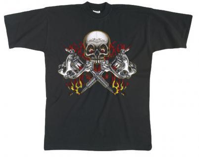 T-SHIRT mit Print - Skull Schädel Totenkopf Säbel - 09959 schwarz - XXL