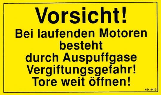 Warnschild - VORSICHT - Laufenden Motoren - Gr. ca. 25 x 15 cm - 308413