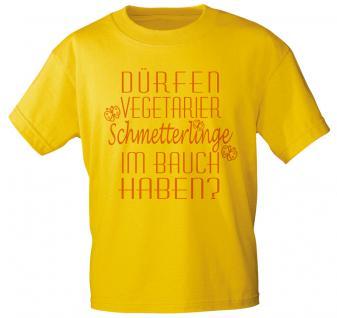 T-Shirt mit Print - Dürfen Vegetarier Schmetterlinge im Bauch haben ? 10221 gelb - Gr. S-XXL