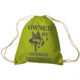 Trend-Bag Turnbeutel Sporttasche Rucksack mit Print - Owned by a german shepherd- TB08900 limegrün