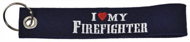 Filz-Schlüsselanhänger mit Stick I love my Firefighter Gr. ca. 17x3cm 14055 schwarz