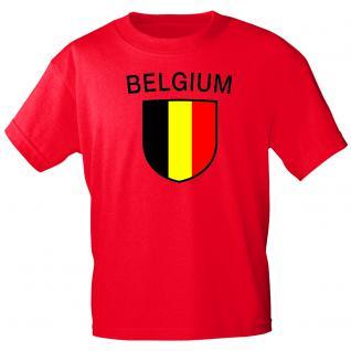 T-Shirt mit Print - Wappen Belgien - 76323 rot - Gr. M