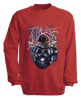 Sweatshirt mit Print - Drummer - S10244 - versch. farben zur Wahl - Gr. rot / M