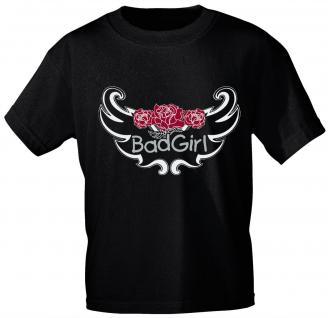 Kinder T-Shirt mit Aufdruck - BAD GIRL - 06932 - schwarz - Gr. 122/128