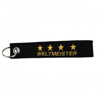 Filz-Schlüsselanhänger mit Stick Weltmeister 4 Sterne Gr. ca. 17x3cm 14336 schwarz