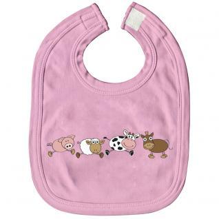 Babylätzchen mit Print - Tiere Schaf Kuh - 07085 rosa