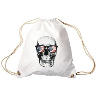 Sporttasche Turnbeutel Trend-Bag Print Totenkopf Skull USA Brille Sunglasses TB10982 weiß