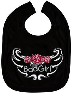 Baby-Lätzchen mit Druckmotiv - Bad Girl - 07036 - schwarz