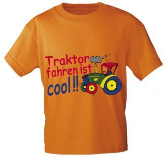 Kinder T-Shirt mit Aufdruck - TRAKTOR FAHREN IST COOL - 08233 - Gr. 86 - 164 in 5 Farben Orange / 152/164