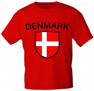 Kinder T-Shirt mit Print - Dänemark - 76039 rot - Gr. 98/104