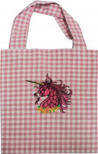 Kinder-Baumwolltasche mit Stickmotiv - Einhorn pink - 12357 - Tasche Kindergartentasche