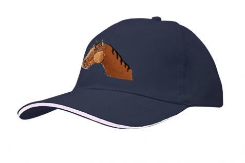 Cap mit gr. Pferde - Stick - Pferdekopf - 69243-1 blau - Baumwollcap Baseballcap Hut Cappy Schirmmütze
