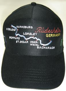 Baumwollcappy - Cap gr. farbiger Bestickung - Rüdesheim Rhein Loreley - 68028-2 schwarz - Baumwollcap Baseballcap Schirmmütze Hut