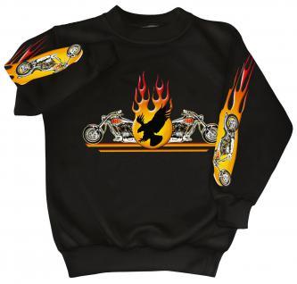 Sweatshirt mit Print - Chopper Flammen Eagle - 10117 - versch. farben zur Wahl - schwarz / M