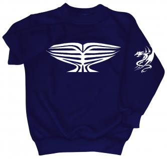 Sweatshirt mit Print - Tattoo Drache - 09031 - versch. farben zur Wahl - Gr. S-XXL blau / 4XL