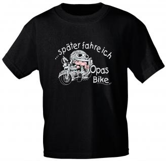 Kinder T-Shirt mit Print - ...Später fahre ich Opas Bike - 06902 - schwarz - Gr. 110/116