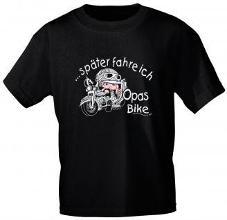 Kinder T-Shirt mit Print - ...Später fahre ich Opas Bike - 06902 - schwarz - Gr. 122/128