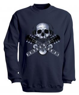 Sweatshirt mit Print - Skull Guitar - S10245 - versch. farben zur Wahl - Gr. Navy / XXL