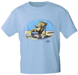 Kinder T-Shirt mit Aufdruck - Bärchen im Liegestuhl - 08121 - hellblau - Gr. 110/116