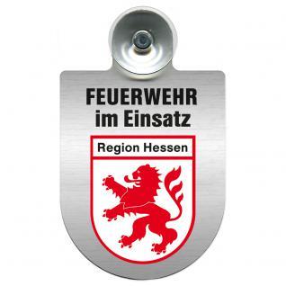 Einsatzschild Windschutzscheibe incl. Saugnapf - Feuerwehr im Einsatz - 309355 - Region Hessen