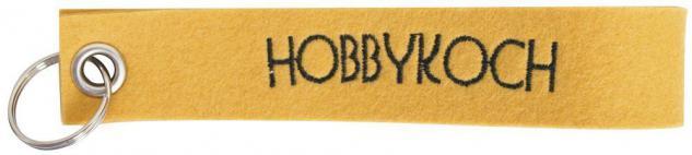 Filz-Schlüsselanhänger mit Stick Hobbykoch Gr. ca. 17x3cm 14210 gelb
