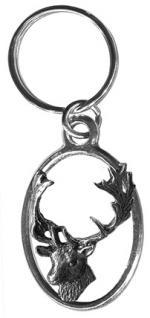 Metall- Schlüsselanhänger - Damhirsch - Gr. ca. 7x3cm - 13258