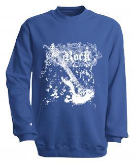 Sweatshirt mit Print - Rock - S10255 - versch. farben zur Wahl - Gr. Royal / XL