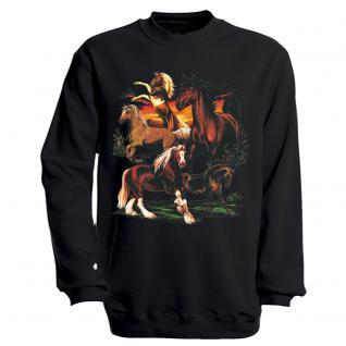 """Sweat- Shirt mit Motivdruck in 6 Farben """" Pferde"""" S12668 schwarz / XL"""