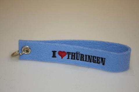 Filz-Schlüsselanhänger mit Stick - I love Thüringen - Gr. ca. 17x3cm - 14293