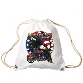 Trend-Bag Turnbeutel Sporttasche Rucksack mit Print - American Biker - TB12661 weiß