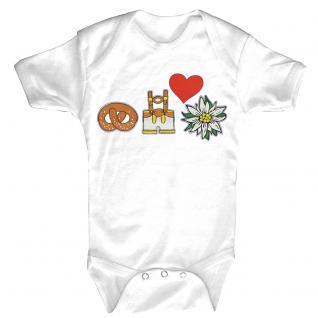 (12732) Baby-Body mit Lederhosn, Brezn, Edelweiß und Herz in 3 Farben und 3 Größen weiß / 6-12 Monate