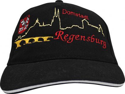 Cap mit vielfarbiger Einstickung - Domstadt Regensburg - 68547 schwarz - Cappy Kappe Baumwollcap Baseballcap