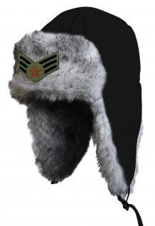 Chapka Fliegermütze Pilotenmütze Fellmütze in schwarz mit 28 verschiedenen Emblemen 60015-schwarz Lilie - Vorschau 4