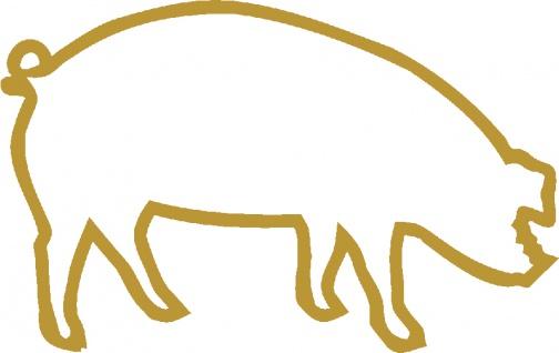 Aufkleber Applikation - Schwein - AP0467 - gold / 40cm