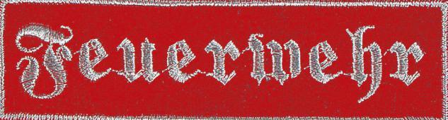 Aufnäher Patch Applikation Stick Emblem - 104071-1 - Gr. ca. 11x3 cm - Feuerwehr rot oder schwarz rot