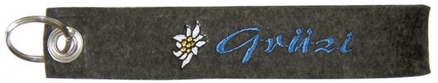Filz-Schlüsselanhänger mit Stick Grüzi Gr. ca. 19x3cm 14006 dunkelgrau