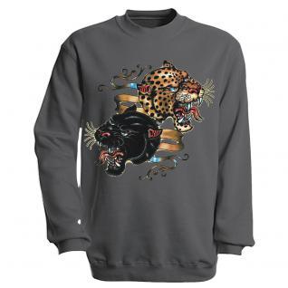 "Sweat- Shirt mit Motivdruck in 6 Farben "" Leopard"" S12679 S / grau"