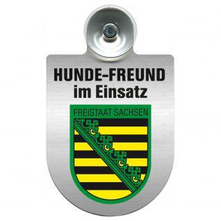 Einsatzschild Windschutzscheibe incl. Saugnapf - Hundefreund im Einsatz - 309383 Region Freistaat Sachsen