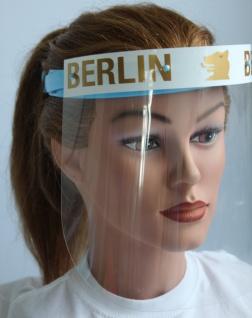 Klarsicht Gesichtschutz Gesichtsvisier aus Kunststoff mit Aufdruck - Berlin weiß