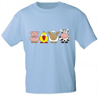 Kinder T-Shirt mit Print - Ferkel Vogel Schaf Kuh - 06982 - hellblau - Gr. 134/146