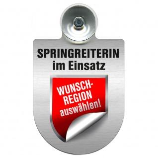 Einsatzschild mit Saugnapf - Springreiterin im Einsatz 393836 incl. Regionenwappen nach Wahl