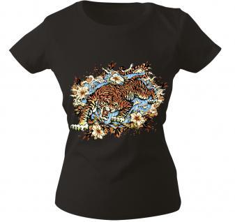 Girly-Shirt mit Print - Tiger - 10973 - versch. farben zur Wahl - Gr. S-XXL schwarz / S