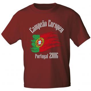 Marken T- Shirt mit Aufdruck Europameister Portugal 12126