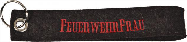 Filz-Schlüsselanhänger mit Stick Feuerwehrfrau Gr. ca. 17x3cm 14052 schwarz