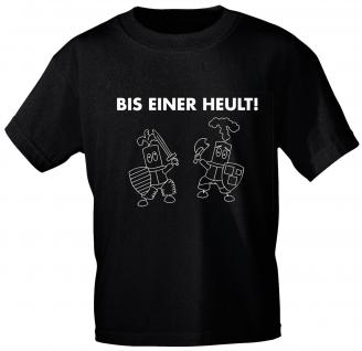 Kinder T-Shirt mit Print - BIS EINER HEULT - 08293 - schwarz - Gr. 134/146